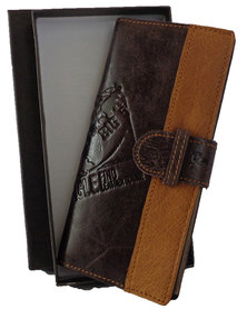 Fino long genuine leather Unisex Travel Wallet with Sim Card Holder- Coffee & Tan