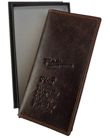 Fino Unisex Geniune Leather Bifold Wallet with Gift Box -D.Brown