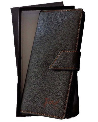 Fino long genuine leather Unisex Travel Wallet  - Brown