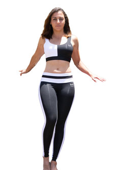 Terra Array Black & White Tights & Sports Bra Set