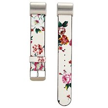 Buyitall.today Floral leather band for Fitbit Charge 2- White & Red