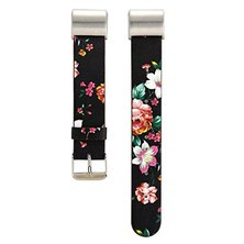 Buyitall.today Floral leather band for Fitbit Charge 2- Black & Red