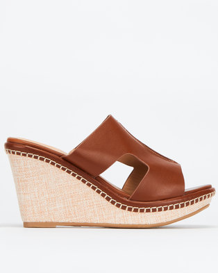 Bata Insolia Slip On Wedges Brown