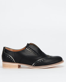 Utopia Ladies Brogue Slip On Black/Silver