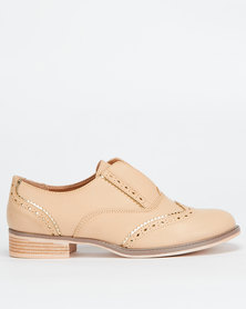Utopia Ladies Brogue Slip On Camel