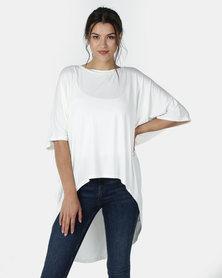 Michelle Ludek Shibori Ella Short Sleeve Hi Lo Top White