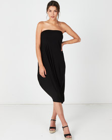 Michelle Ludek Billy Bardot Boobtube Assymetrical Dress Black