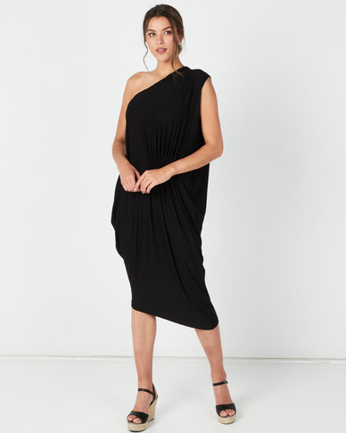 Michelle Ludek Bardot Ruched Dress Black
