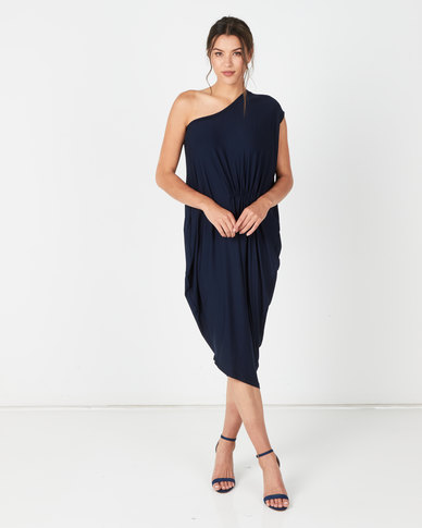 Michelle Ludek Bardot Ruched Dress Navy