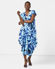 Michelle Ludek Circle Tie Dye Print Sarah Ruched Front Midi Dress Blue