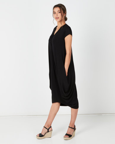 Michelle Ludek Sarah Ruched Front Midi Dress Black