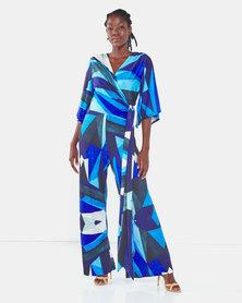 Michelle Ludek Geo Print Christine Jumpsuit Blue