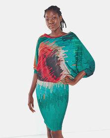 Michelle Ludek Protea Print Stella Off Shoulder Midi Dress Multi