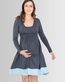 Lonzi & Bean - Long Sleeve Feeding Dress - Charcoal Duck