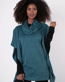 Marique Yssel Square Poncho & Snood 2 Piece - Teal