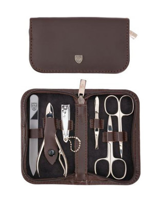 Kellermann 3 Swords Manicure Genuine Leather Set Dark Brown