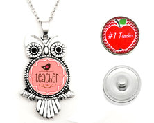 Urban Charm Snap Creations Wise Owl Necklace with 2 x Interchangeable Snaps - Teacher