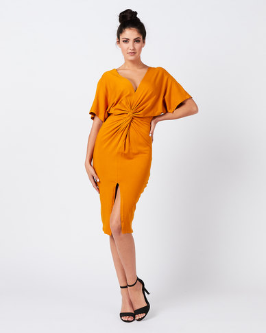 Utopia Knot Dress Old Gold