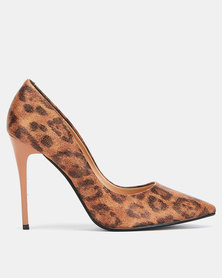 Utopia leopard print stiletto courts Brown