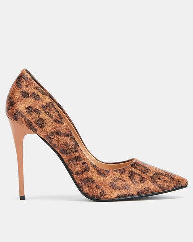 Utopia leopard print stiletto courts Brown