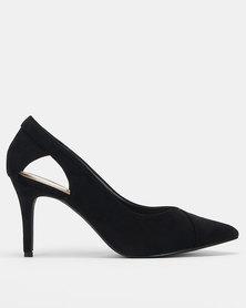 Utopia Pointed-Toe Open Side Heels Black