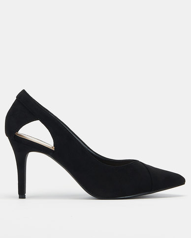 Utopia Pointed-Toe Open Side Heels Black