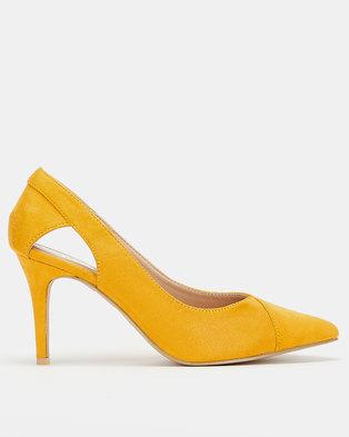 Utopia Pointed-Toe Open Side Heels Mustard