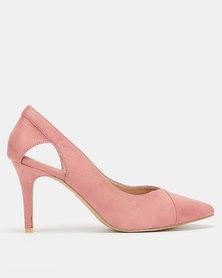 Utopia Pointed-Toe Open Side Heels Dusty Pink
