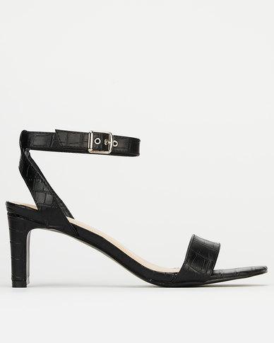 Utopia Croc Midi Heels Black