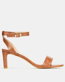 Utopia Croc Midi Heels Brown
