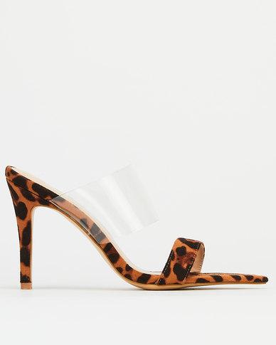 Utopia  Pointy Toe Leopard High Heels  Brown