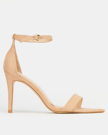 Utopia Pointy Toe Barely There High Heels Beige