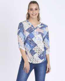 Contempo Burnout Printed Henley Pink