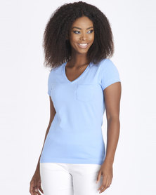 Contempo Raw Edge Plain Tee Blue