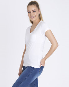 Contempo Raw Edge Plain Tee White