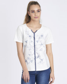 Contempo Lace Panel & Denim Trim Tee White