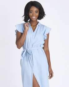 Contempo Denim Dress With Frill Sleeve Blue
