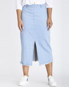 Contempo Denim Skirt With Raw Edge Blue
