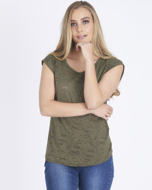 Contempo 2 Pack Burnout Top Khaki/Black