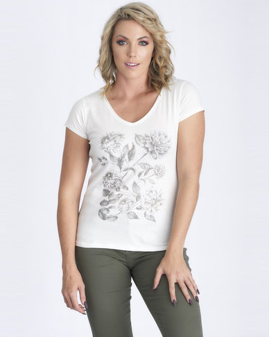 Contempo Pearl & Flower Printed Tee Off White