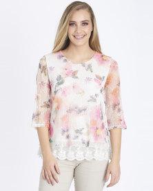 Contempo Printed Lace Overlay Top Multi