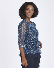 Contempo Printed Lace Overlay Top Blue