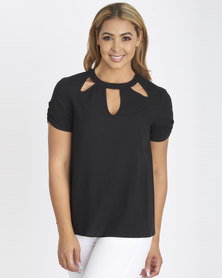 Contempo Keyhole Top Black