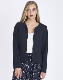 Contempo Scalloped Jacket Navy