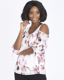 Contempo Printed Cold Shoulder Top Ivory