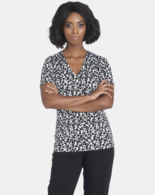 Contempo Printed Mock Wrap Top Ivory