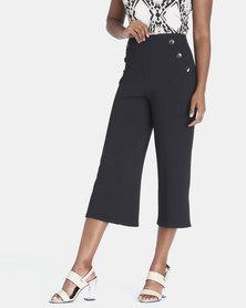 Contempo Cropped Wide Leg Pants Black