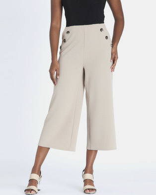 Contempo Cropped Wide Leg Pants Stone