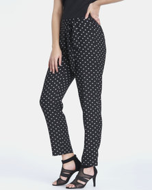 Contempo Printed Pants Black