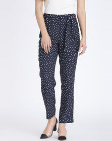 Contempo Printed Pants Navy